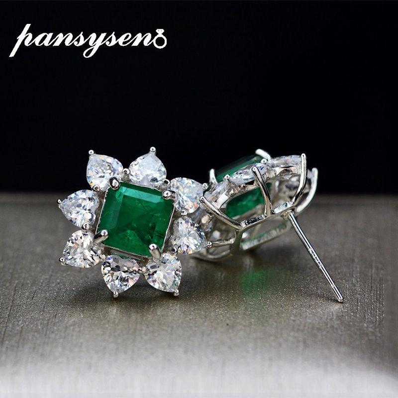 PANSYSEN Vintage 7MM Natural Emerald Earrings For Women Solid 925 Sterling Silver Fashion Jewelry Anniversary Party Earring Gift