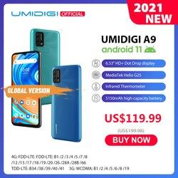 UMIDIGI A9 Android 11 глобальная версия 13MP AI тройной Камера, 3 Гб оперативной памяти, 64 ГБ Helio G25 Octa Core 6,53 дюймHD + 5150 мА/ч, мобильный телефон предпродажа