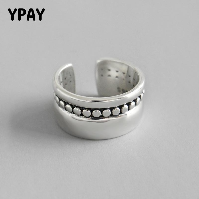 YPAY Authentic 925 Sterling Silver Adjustable Ring Vintage Korean Small Round Beads Open Rings Women Anillos Bague Femme YMR629