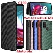 Sợi Carbon Cho Motorola G100 G50 Ốp Lưng Từ Cuốn Sách Đứng Flip Bảo Vệ PU Da Moto G10 G20 G30 bao Da