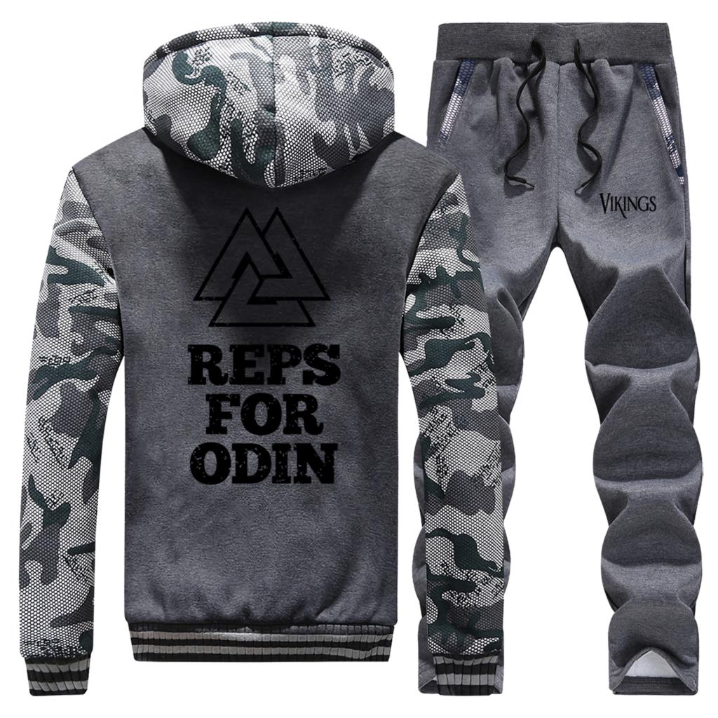 Hot Sale Winter 2019 Streetwear Camouflage Mens Hoodies Reps For Odin Vikings Coat Thick Suit Warm Jaackets+Pants 2 Piece Set