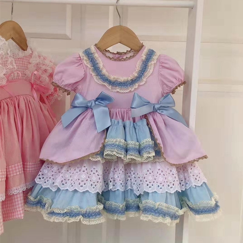 3PCS Spring Summer Spanish Princess Ball Gown Lolita Party Short Sleeve Dress For Bady Girls Pink Hubble-bubble Sleeve Dress