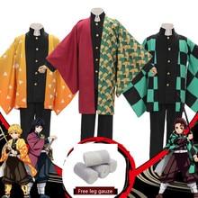 Demon Slayer: Kimetsu no Yaiba mens Kamado Tanjirou cosplay cape costumes full sets Agatsuma Zenitsu orange cape suits costumes