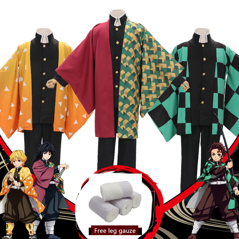 Demon Slayer: Kimetsu No Yaiba Mens Kamado Tanjirou Cosplay Cape Costumes Full Sets Agatsuma Zenitsu Orange Cape Suits Costumes