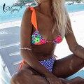 Miyouj Niedrigen Taille Bikinis Mujer Badeanzug Push-Up Badeanzüge Sexy Bikini Set Patchwork Drucken Bademode 2021 Verband Strand Tragen