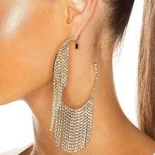 Fashion Creative Metal C-shaped Open Circle Rhinestone Tassel Earrings Women's Popular Exaggerated Banquet Jewelry Accessories