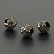 Lote de cuentas de latón redondas, abalorios en forma de bola, colgante de cuerda, abalorios de Paracord de cobre DIY, 1 unids/lote