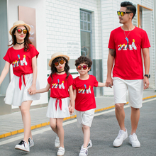 цена на summer dress 2019 family matching clothes mommy and me family look mother mom and daughter dresses tshirt sisters father son