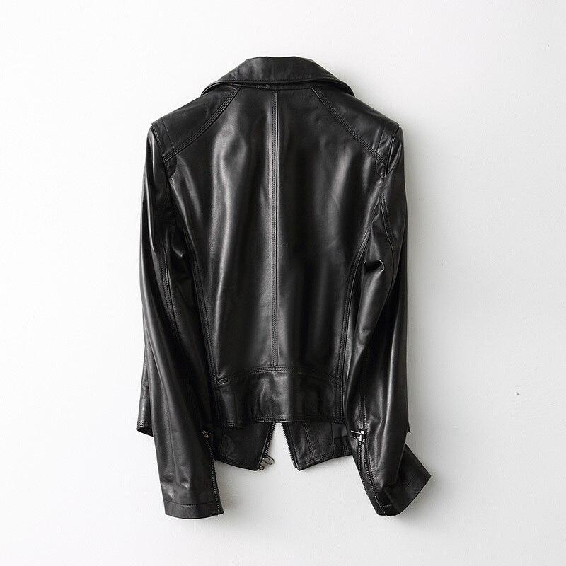 Leather Genuine Streetwear Jacket Women 2020 Spring Korean Fashion Vintage MotoShort Sheepskin Leather Jacket Coat 29055