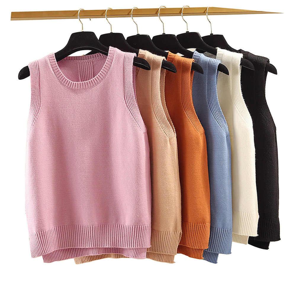 2019 봄 가을 패션 모든 일치 v-목 니트 조끼 여성 스웨터 불규칙한 헴 슬립 민소매 여성 탑 xz663