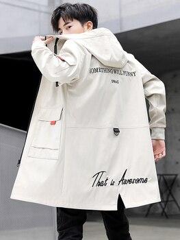 Fashion Men's Long Trench Coat Casual Windbreaker Coats Outwear Letters Pattern Hooded Pockets E37