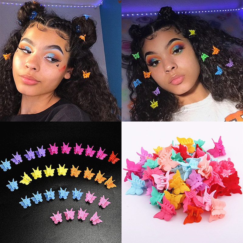 100PCS Mixed Color Butterfly Hair Clips Claw Barrettes Mini Clamps Jaw Hairpin Headdress Hair Styling Accessories For Women Girl
