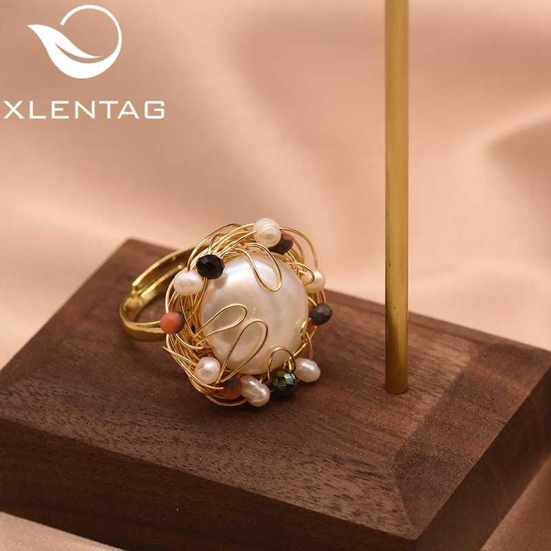 XlentAg Natural Fresh Water Baroque White Big Pearl Adjustable Rings For Women Handmade Wedding Engagement Ring Jewelry GR0191