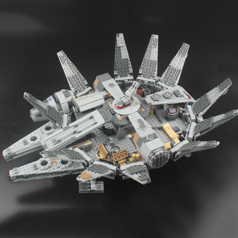 Image 2 - Locking star wars Millennium SpaceShip Set Action Figures Han Solo s Bricks Building Blocks Toys For Children starwars LockingsBlocks   -
