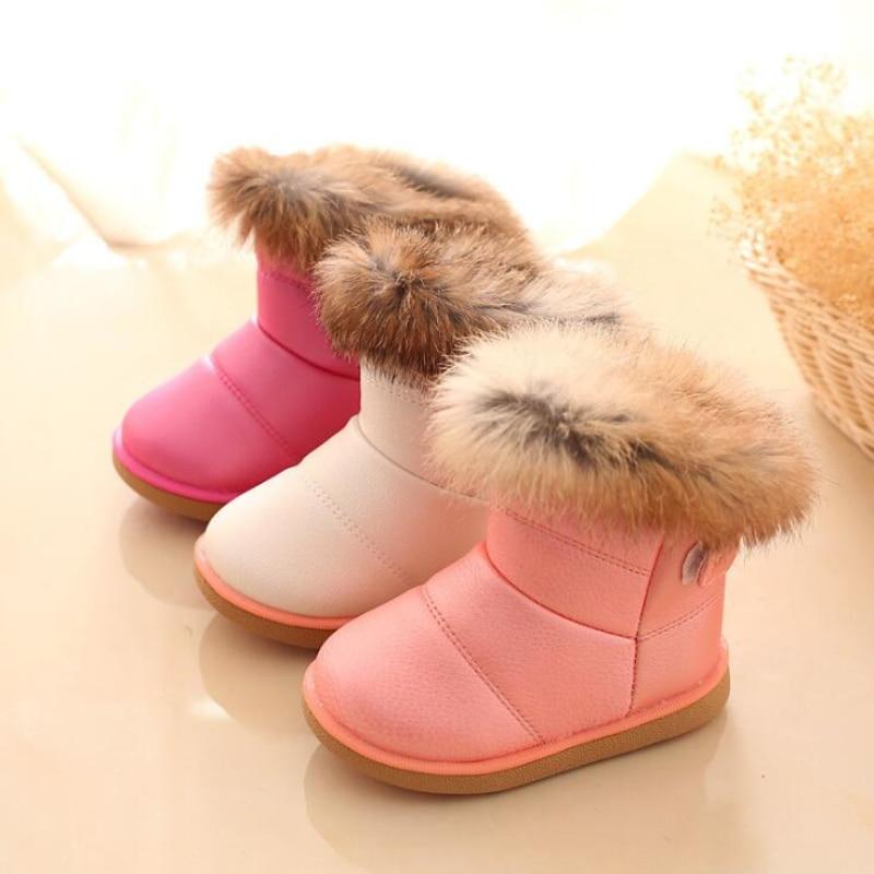 Girls Snow Boots Winter Warm Fashion Boots Children Rabbit Fur Soft Bottom Toddler's Cotton Shoes White
