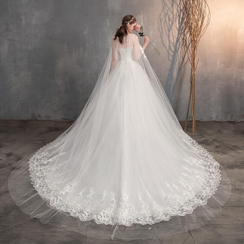Long Cap Lace Wedding Gown Bridal Dress 5