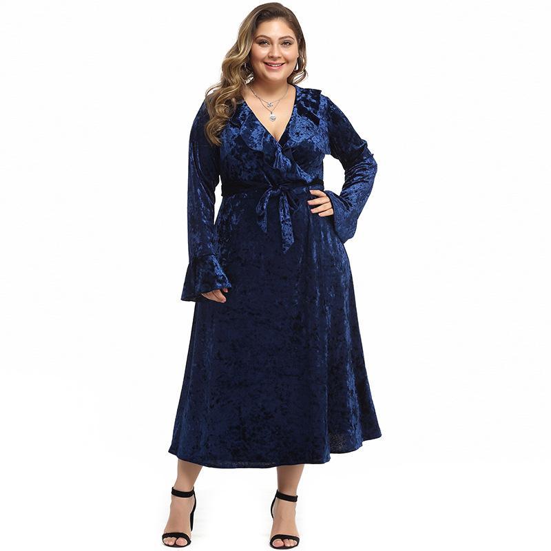 Autumn Winter Large Size Long Velvet Dress Women Sexy V-neck Bat Sleeve Dress Ruffles Plus Size Maxi Evening Party Dress XL-5XL