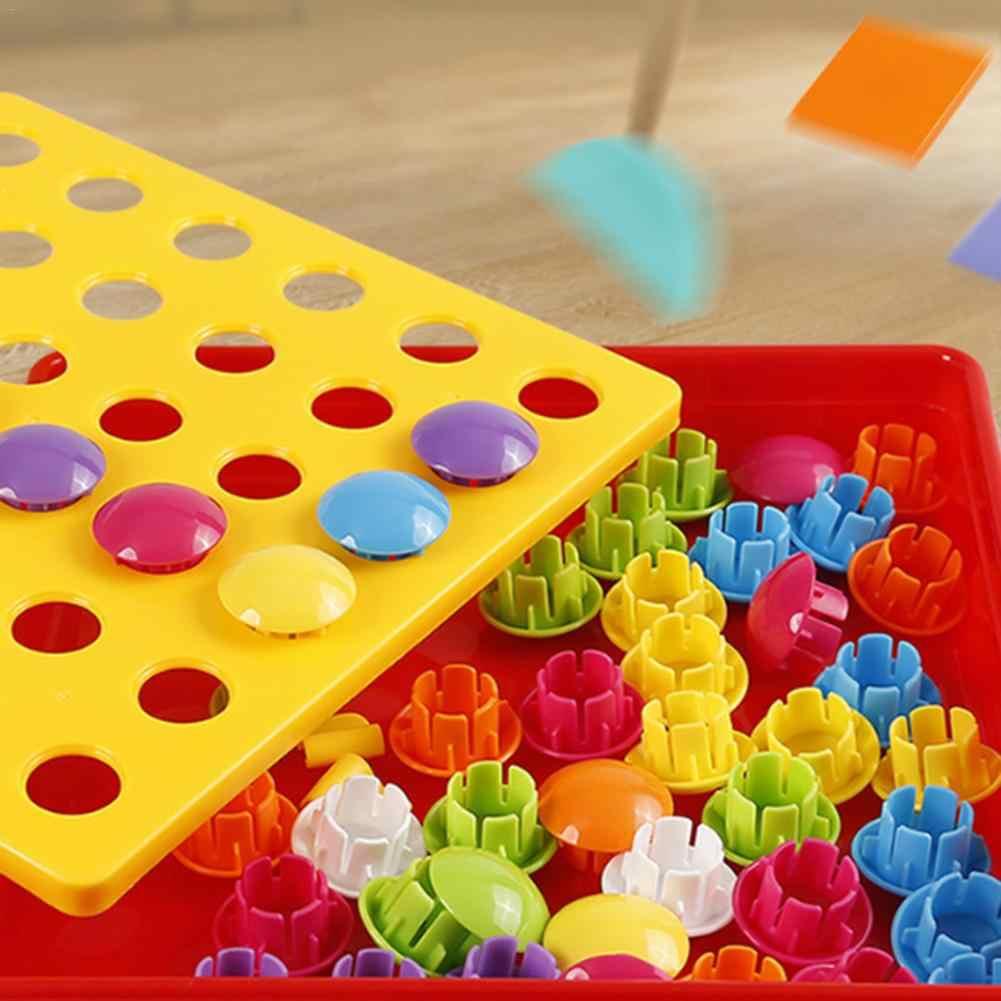 4 Set 3D Teka-teki Mainan Tombol Berwarna-warni Perakitan Jamur Kuku Kit Bayi Mosaik Composite Picture Teka-teki Papan Mainan Pendidikan