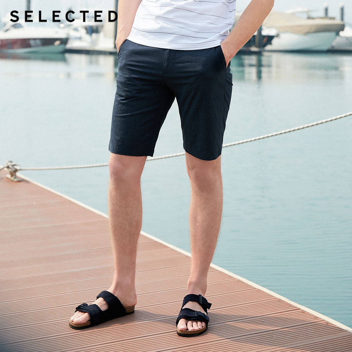 SELECTED Men's Straight Fit Striped Knee-high Shorts S|4192SH536