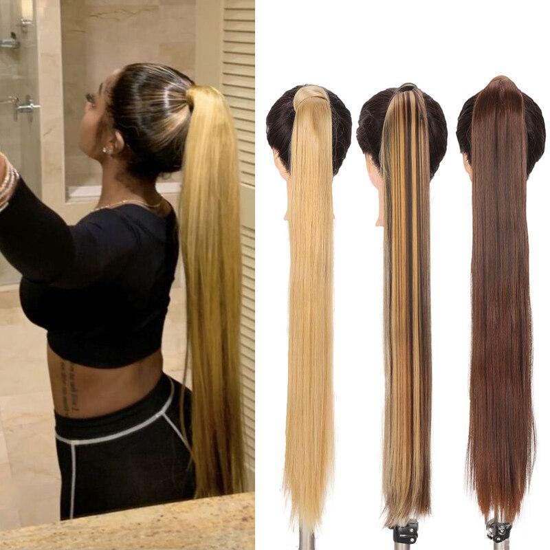 JINKAILI 32 дюйма длинные прямые Обёрточная бумага вокруг клип в хвост наращивание волос Синтетический термостойкий парик хвост Поддельные пар...
