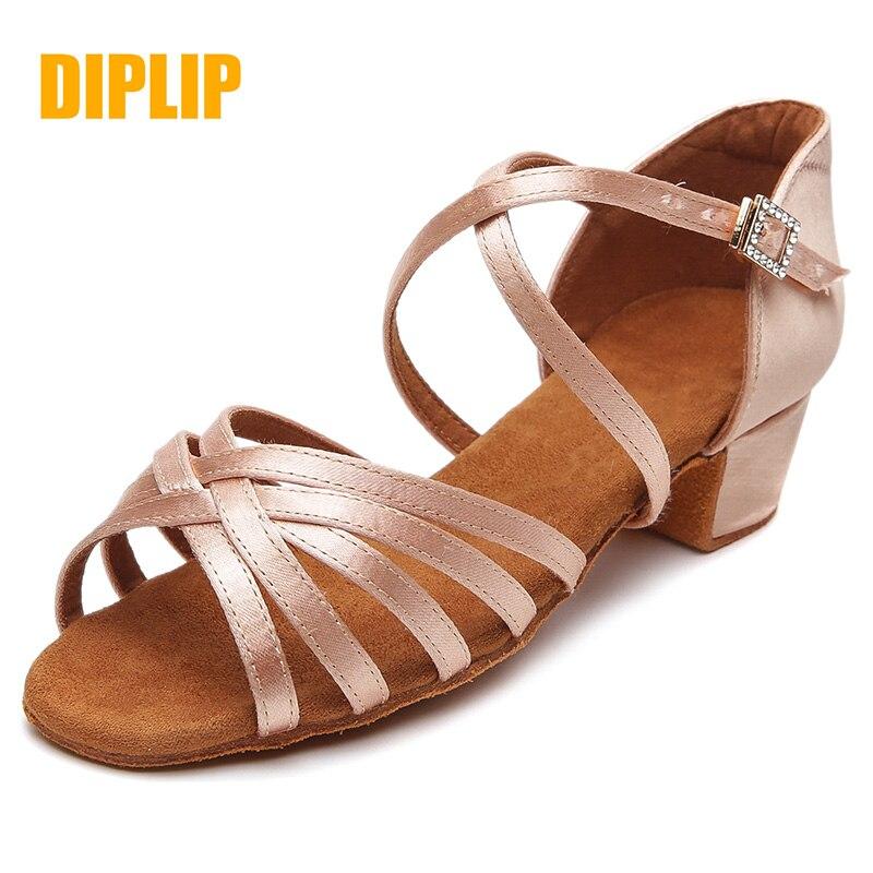 DIPLIP Hot New Children's Latin Dance Shoes Girls Ballroom Dance Children's Children's Tango Dance Shoes Soft Girls Salsa