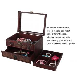 Image 3 - Multi Layer Jewelry Storage Box Dust proof Wooden Necklace Earrings Storage Container Box Jewelry Holder Decoration Organizer