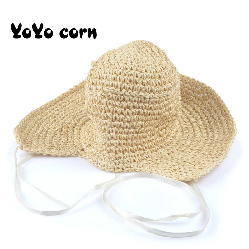 YOYOCORN รุ่นวรรณกรรม retro handmade crochet หมวกหมวกสาวหมวกขนาดเล็กสด beach visor ฤดูร้อนสุภาพสตรีหมวก