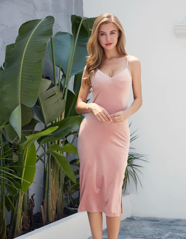 Velvet Slip V haljine za žene špagete Strap seksi jednodijelni - Ženska odjeća - Foto 4
