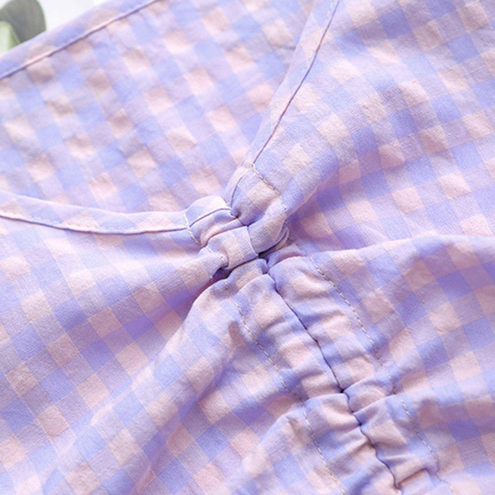 Женщины лето 2020 корейский открытыми пупок случайные тонкий тонкий девушка V-образным вырезом топы женский регулируемая решетка плиссированные шнурок блузка