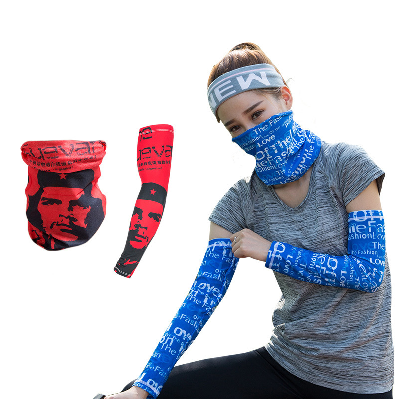 1Set Summer Mouth Face Mask Letter Print Ice Cool Sleeve Unisex Mask Fashion Sleeve Mask Outdoor Sunshine Avoider Face Cover