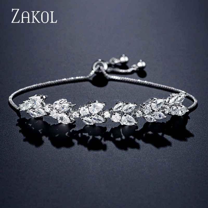 ZAKOL High Quality White Cubic Zirconia Leaf Adjustable Bracelets For Women Fashion Bridal Wedding Party Jewelry FSBP2159
