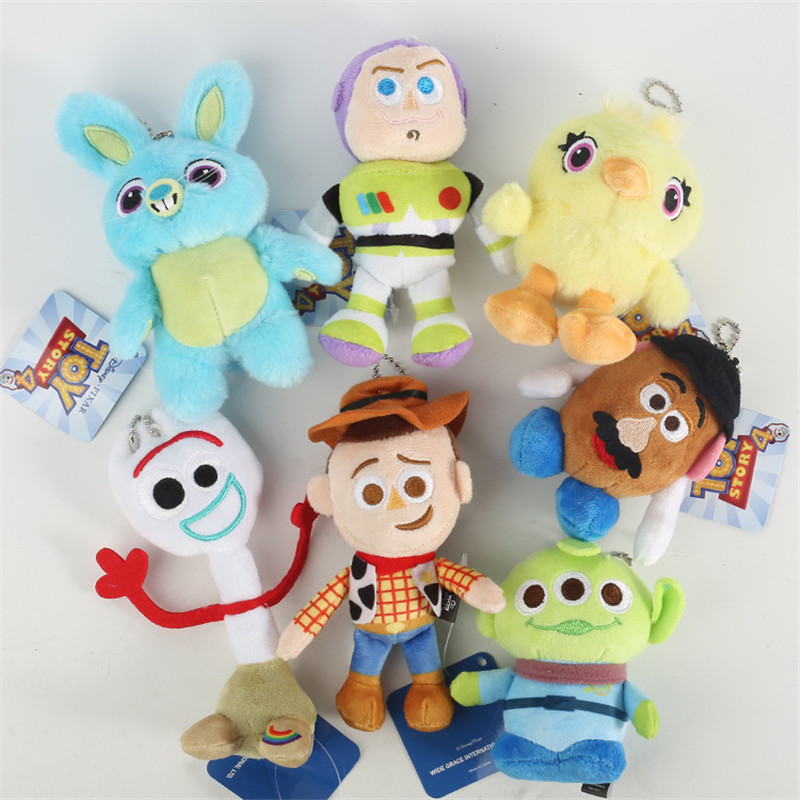 Cartoon Pixar Movie Toy Story 4 Plush Keychain Toys Forky Woody Bunny Buzz Lightyear Soft Plush Stuffed Doll Figure Kids Gift