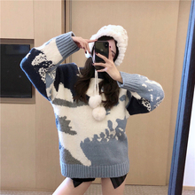 Print Casual Sweater Women Pullover 2019 Autumn Winter Warm Pullover Tunic Contrast Color Knit O-neck Jumper Top Fashion-sweater contrast ruffle neck and bell cuff jumper