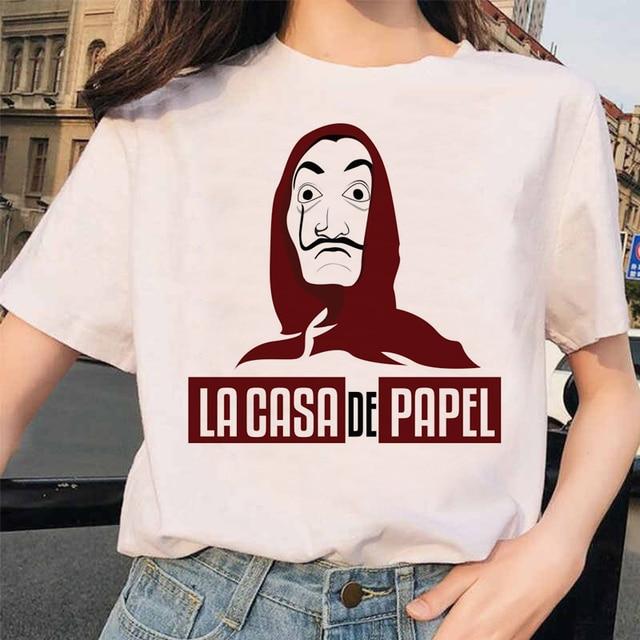 La casa de papel t shirt femmes argent casse t shirt blanc Dali masque Casa De Papel grande taille t shirt hauts Bella Ciao t shirt Femme