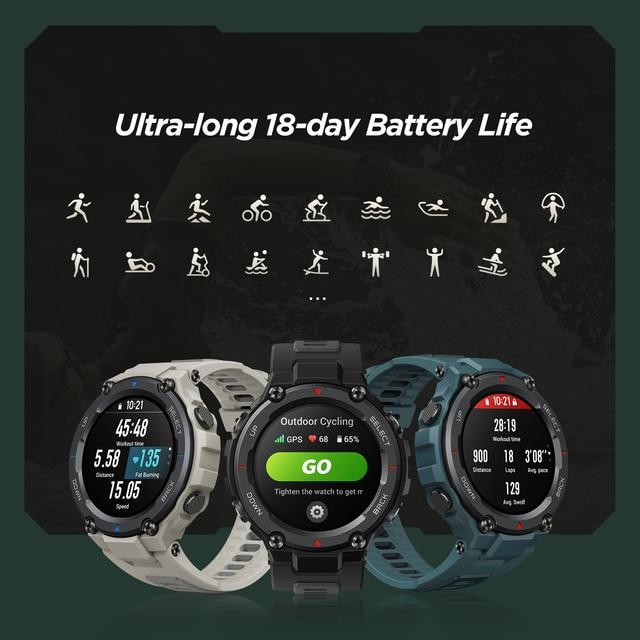Novo amazfit t-rex trex pro t rex gps smartwatch ao ar livre à prova d18 água 18 dias de vida da bateria 390mah relógio inteligente para android ios telefone 4