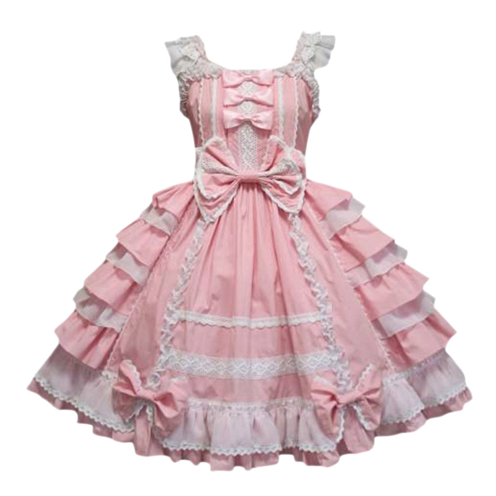 Gothic <font><b>Lolita</b></font> Dress Bow Lace Black Pink Dress Women Princess Dress Sweet Kawaii Square Collar Mini Vestido Party Dress Z0113 image
