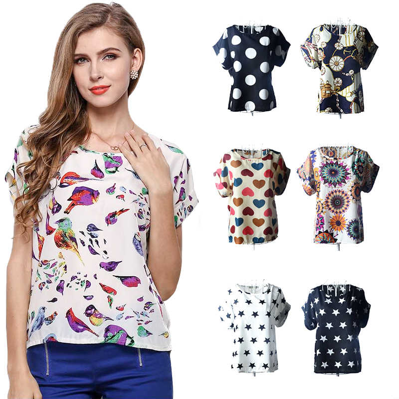 2019 Caldo camicetta di chiffon stampato T-Shirt in chiffon di Estate di Modo di Stile Occidentale O-Collo Sciolto T-Shirt floreale a Maniche Corte Traspirante