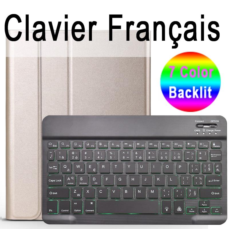 French Keyboard Sky Blue 7 Colors Backlit 3 0 Bluetooth Keyboard Case for iPad 10 2 Keyboard Case for Apple
