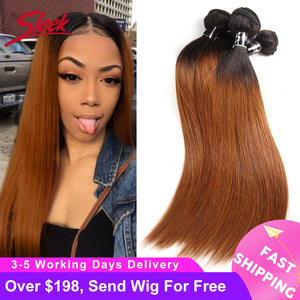 Sleek Brazilian-Hair Weft-Extensions Weave Bundles Deal Ombre Straight-1b/30 10-To-30-Inch