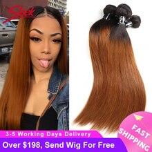 Sleek Ombre Braziliaanse Haar Steil 1B/30 Human Hair Weave Bundels Deal Two Tone Remy Haar 3/4 Pcs Inslag extensions 10 Tot 30 Inch