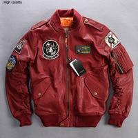 fly flight jacket men plant tranned goatskin badge pilot leather bomber jacket red genuine leather jacket coat men XXXL