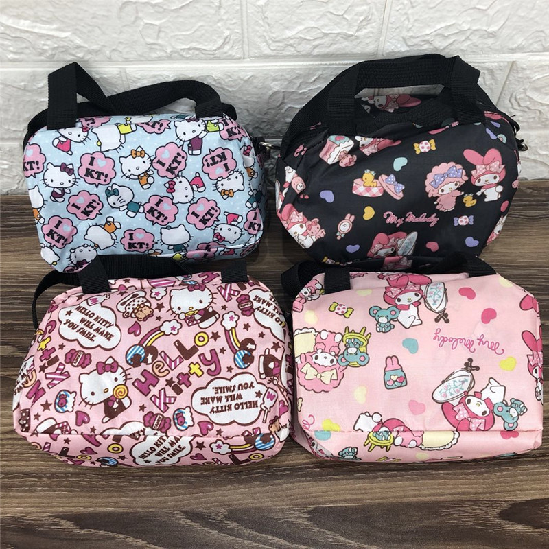 IVYYE 1PCS Stitch KT Melody Fashion Anime Portable Travel Bag Reusable Tote Foldable Handbags Luggage Pouch Storage Bags NEW