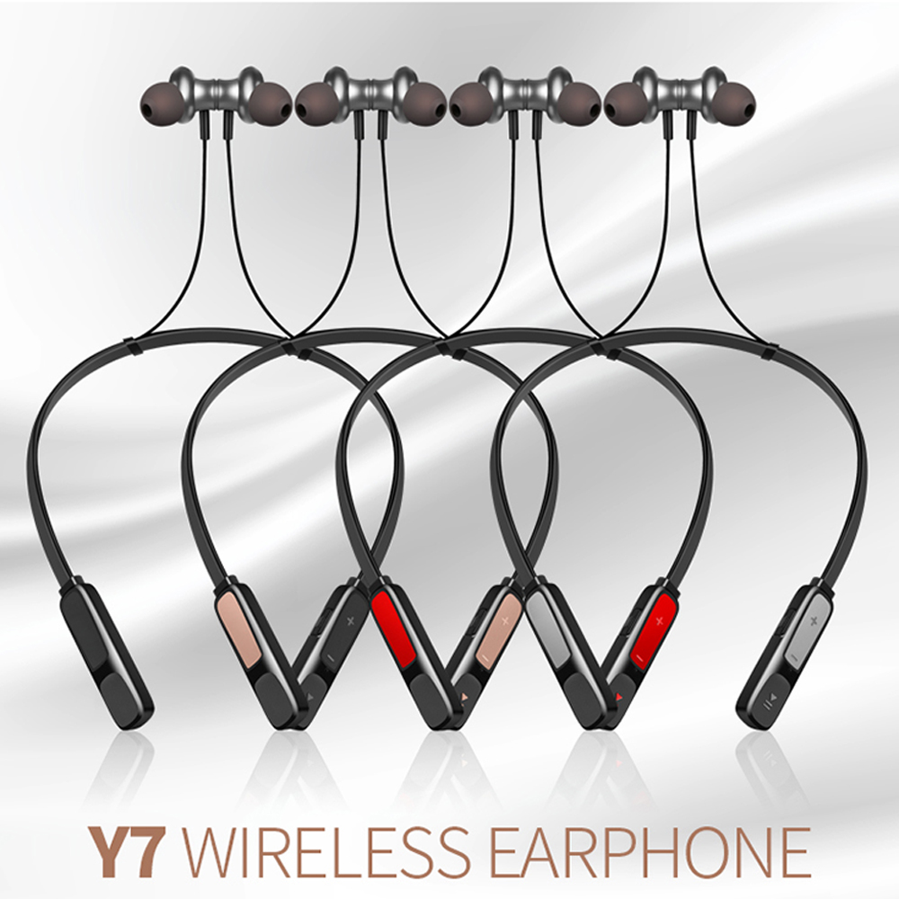 HOT Y7 magnetic wireless bluetooth earphone headset headphone with mic Deep bass Standby 20 days for xiaomi Iphone huawei