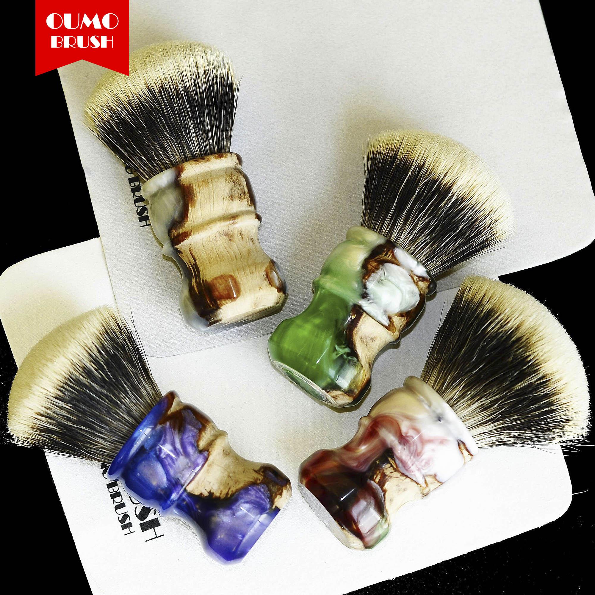OUMO BRUSH- Sandalwood With Resin SHD Manchuria Badger Knot Shaving Brush Gel City