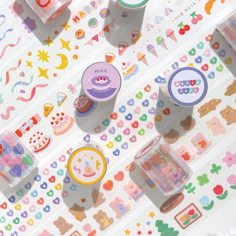 Happy Manor Series Laser PET Tape Cute Animal Pattern Cartoon Masking Tapes Scrapbooking Journal Paper Craft Supplies Stationery
