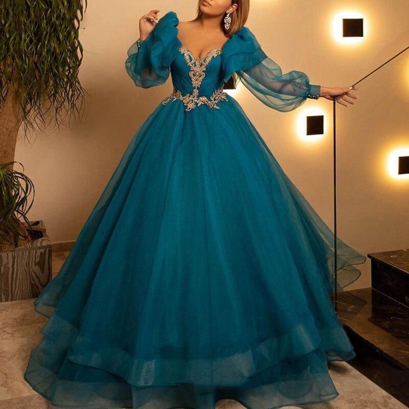 Muslim Evening dresses V Neck Appliques Gold Lace Long sleeve Dubai Kaftan Arabic Tulle Formal Party Prom Dress Robe de soiree