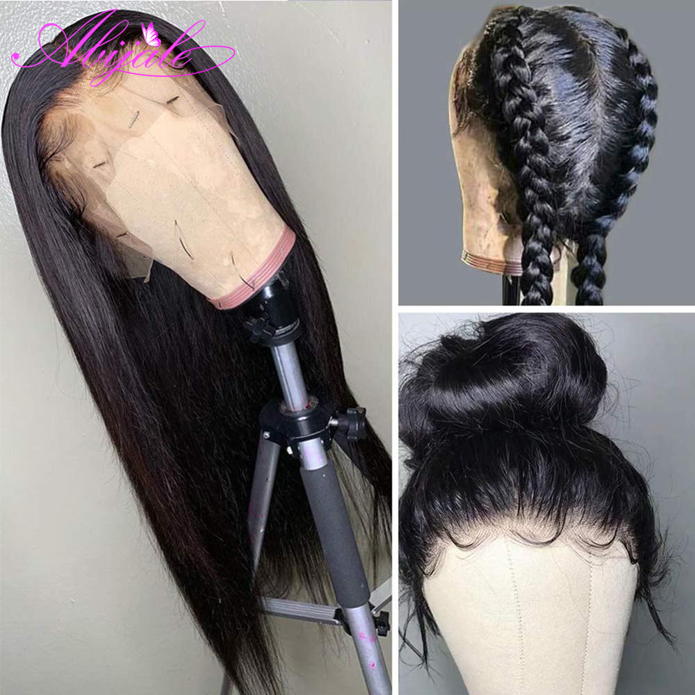 Abijale прямые Синтетические волосы на кружеве человеческих волос парики 13x1 часть синтетические волосы парик предварительно визирная линия д...