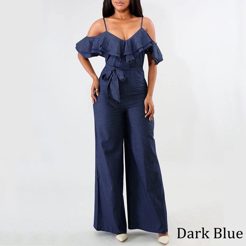 VOND Plus Size Demin Overalls Romper Women Jumpsuit 2020 Summer Wide Leg Pants Casual Loose Sexy Club Ruffle Sleeve Playsuits