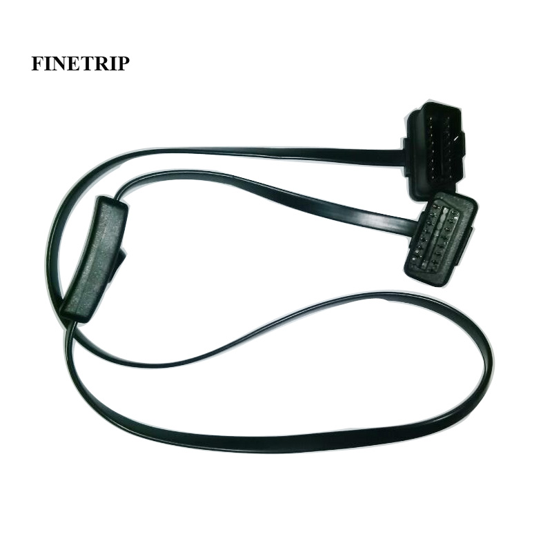 Factory 25% Off 0.6/1m Flat Thin As Noodle GPS Cable  OBD OBDII OBD2 Extension Cable With Switch ELM327 Connector L Type Adapter