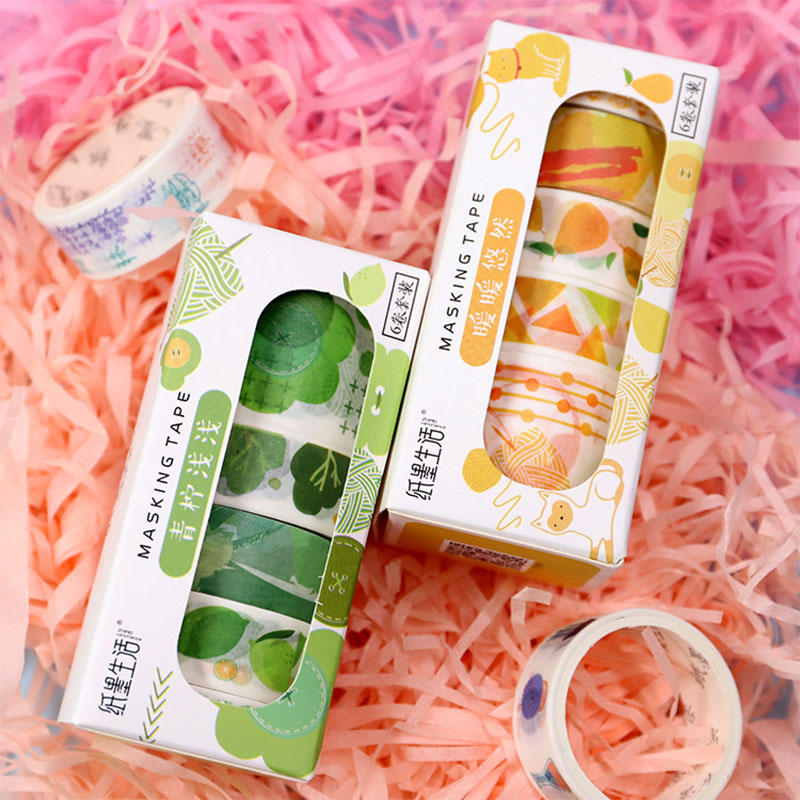 6Pcs Cute Colored Washi Tape Kawaii Cherry Adhesive Tape Masking Tapes For Kid Scrapbooking DIY Photo Albums Supplies Stationery